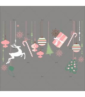 Sticker-frise-de-noël-icônes-boules-sapin-cristaux-renne-paquets-cadeaux-thème-rose-vert-couleurs-pastel-romantique-vitrophanie-décoration-vitrine-noël-électrostatique-sans-colle-repositionnable-réutilisable-DECO-VITRES