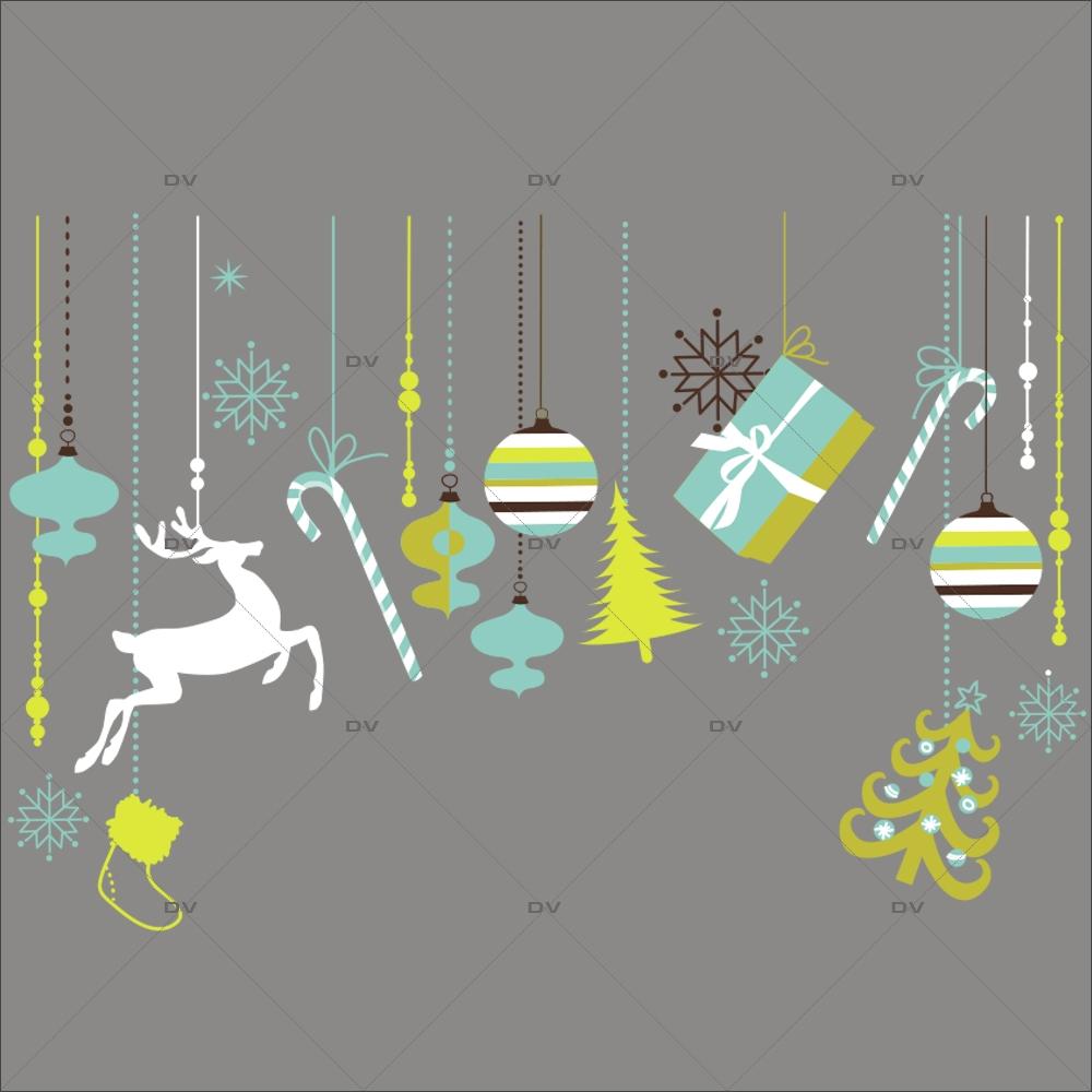 Sticker-frise-de-noël-icônes-boules-sapin-cristaux-renne-paquets-cadeaux-thème-bleu-vert-anis-moderne-vitrophanie-décoration-vitrine-noël-électrostatique-sans-colle-repositionnable-réutilisable-DECO-VITRES