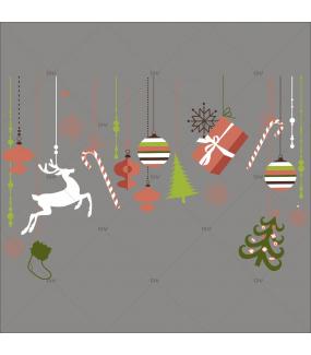 Sticker-frise-de-noël-icônes-boules-sapin-cristaux-renne-paquets-cadeaux-thème-vintage-vert-brique-beige-vitrophanie-décoration-vitrine-noël-électrostatique-sans-colle-repositionnable-réutilisable-DECO-VITRES