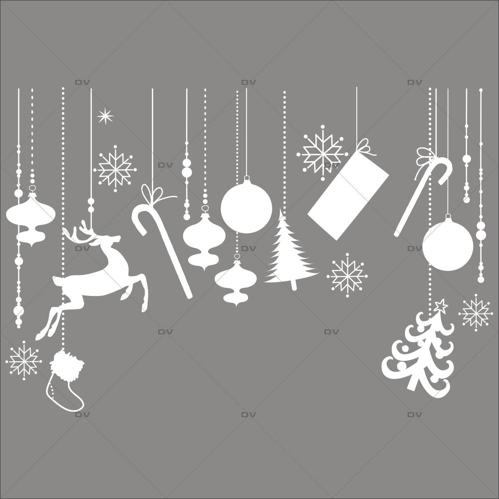 Sticker-frise-de-noël-icônes-boules-sapin-cristaux-renne-paquets-cadeaux-thème-blanc-vitrophanie-décoration-vitrine-noël-électrostatique-sans-colle-repositionnable-réutilisable-DECO-VITRES
