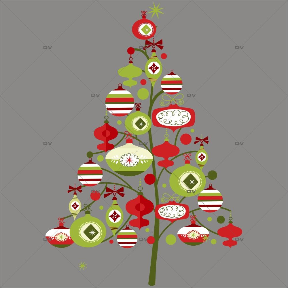 Sticker-sapin-boules-de-noël-cristaux-vert-rouge-thème-traditionnel-fête-vitrophanie-décoration-vitrine-noël-électrostatique-sans-colle-repositionnable-réutilisable-DECO-VITRES