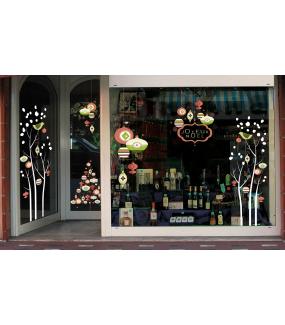 Sticker-sapin-boules-de-noël-cristaux-brique-vert-beige-thème-vintage-fête-vitrophanie-décoration-vitrine-noël-électrostatique-sans-colle-repositionnable-réutilisable-DECO-VITRES