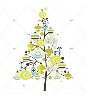 Sticker-sapin-boules-de-noël-cristaux-bleu-vert-anis-thème-moderne-fête-vitrophanie-décoration-vitrine-noël-électrostatique-sans-colle-repositionnable-réutilisable-DECO-VITRES