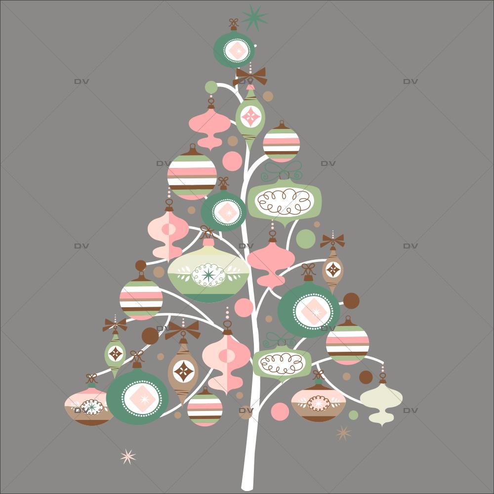 Sticker-sapin-boules-de-noël-cristaux-rose-vert-thème-romantique-couleurs-pastel-fête-vitrophanie-décoration-vitrine-noël-électrostatique-sans-colle-repositionnable-réutilisable-DECO-VITRES