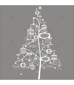 Sticker-sapin-en-boules-de-noël-et-cristaux-blanc-évidé-thème-girly-chic-vitrophanie-décoration-vitrine-noël-électrostatique-sans-colle-repositionnable-réutilisable-DECO-VITRES