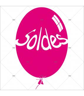 Sticker-ballon-soldes-fuchsia-vitrophanie-décoration-vitrine-promotionnelle-électrostatique-sans-colle-repositionnable-réutilisable-DECO-VITRES