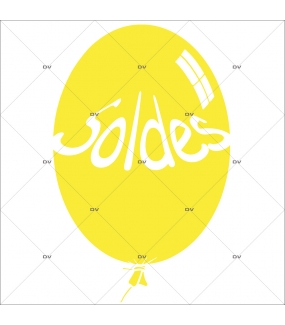 Sticker-ballon-soldes-jaune-vitrophanie-décoration-vitrine-promotionnelle-électrostatique-sans-colle-repositionnable-réutilisable-DECO-VITRES