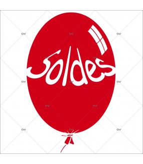 Sticker-ballon-soldes-rouge-vitrophanie-décoration-vitrine-promotionnelle-électrostatique-sans-colle-repositionnable-réutilisable-DECO-VITRES