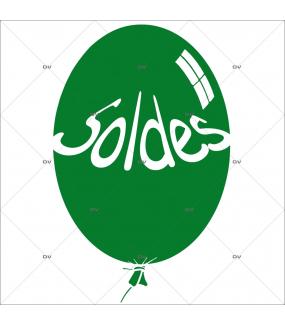 Sticker-ballon-soldes-vert-vitrophanie-décoration-vitrine-promotionnelle-électrostatique-sans-colle-repositionnable-réutilisable-DECO-VITRES