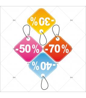 Sticker-frise-étiquettes-pourcentages-soldes-multicolores-vitrophanie-décoration-vitrine-promotionnelle-électrostatique-sans-colle-repositionnable-réutilisable-DECO-VITRES