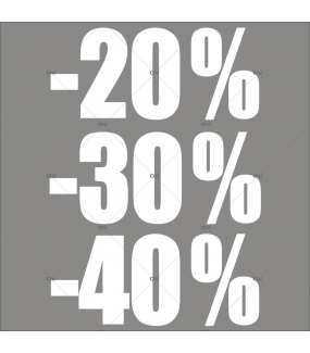 sticker-soldes-pourcentages-20-30-40-blancs-vitrophanie-décoration-vitrine-promotionnelle-électrostatique-sans-colle-repositionnable-réutilisable-DECO-VITRES