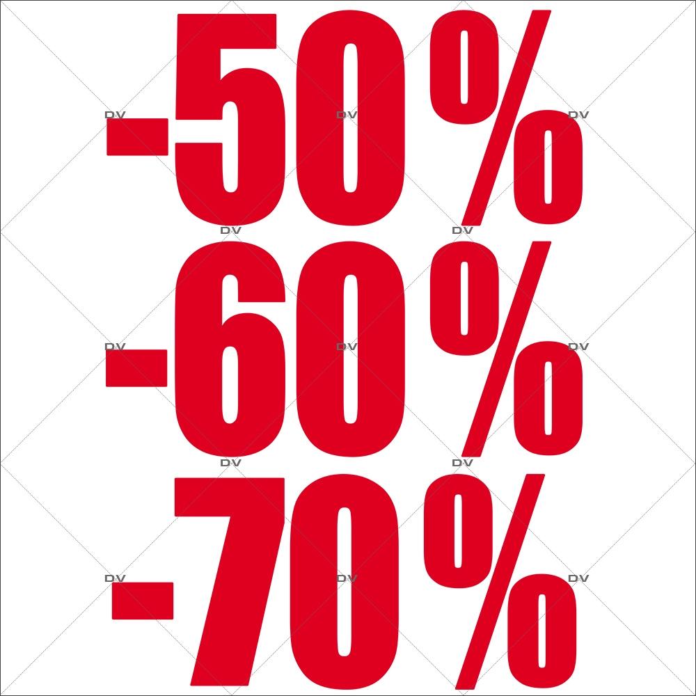 Sticker-soldes-pourcentages-50-60-70-rouges-vitrophanie-décoration-vitrine-promotionnelle-électrostatique-sans-colle-repositionnable-réutilisable-DECO-VITRES