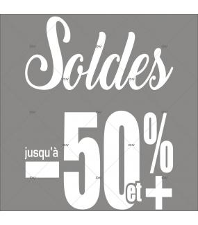 Sticker-soldes-50-%-et-plus-blanc-vitrophanie-décoration-vitrine-promotionnelle-électrostatique-sans-colle-repositionnable-réutilisable-DECO-VITRES