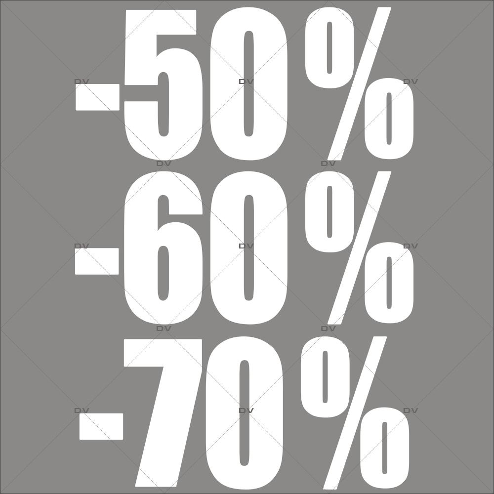 Sticker-soldes-pourcentages-50-60-70-blancs-vitrophanie-décoration-vitrine-promotionnelle-électrostatique-sans-colle-repositionnable-réutilisable-DECO-VITRES