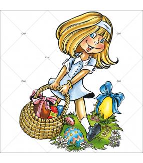 Sticker-fillette-panier-oeufs-multicolores-printemps-vitrophanie-décoration-vitrine-pâques-printanière-électrostatique-sans-colle-repositionnable-réutilisable-DECO-VITRES