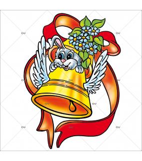 Sticker-lapin-cloche-ailée-printemps-vitrophanie-décoration-vitrine-pâques-printanière-électrostatique-sans-colle-repositionnable-réutilisable-DECO-VITRES