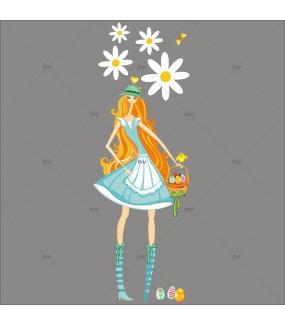 Sticker-fille-panier-oeufs-multicolores-pâquerettes-fleurs-poussins-printemps-vitrophanie-décoration-vitrine-pâques-printanière-électrostatique-sans-colle-repositionnable-réutilisable-DECO-VITRES