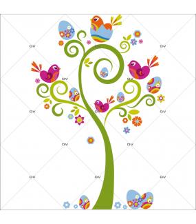 Sticker-arbre-à-oeufs-de-pâques-et-oiseaux-vitrophanie-décoration-vitrine-pâques-printanière-électrostatique-sans-colle-repositionnable-réutilisable-DECO-VITRES