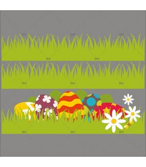 Sticker-frises-herbes-oeufs-de-pâques-multicolores-pâquerettes-fleurs-vitrophanie-décoration-vitrine-pâques-printanière-électrostatique-sans-colle-repositionnable-réutilisable-DECO-VITRES