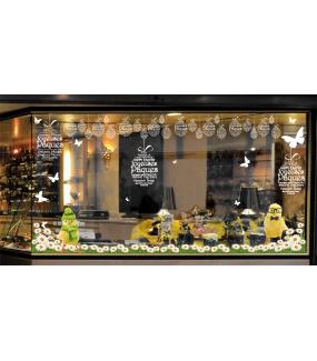 Sticker-oeuf-en-textes-joyeuses-pâques-blanc-multilingue-vitrophanie-décoration-vitrine-pâques-printanière-électrostatique-sans-colle-repositionnable-réutilisable-DECO-VITRES