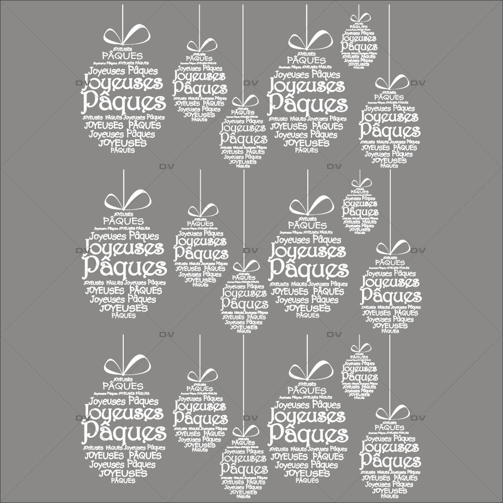 Sticker-frises-oeufs-en-textes-joyeuses-pâques-blanc-français-vitrophanie-décoration-vitrine-pâques-printanière-électrostatique-sans-colle-repositionnable-réutilisable-DECO-VITRES