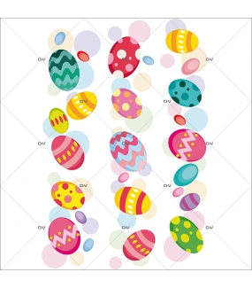 Sticker-frises-oeufs-de-pâques-multicolores-vitrophanie-décoration-vitrine-pâques-printanière-électrostatique-sans-colle-repositionnable-réutilisable-DECO-VITRES