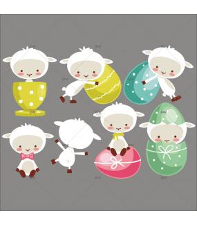 Sticker-agneaux-et-oeufs-de-pâques-couleurs-acidulées-animaux-vitrophanie-décoration-vitrine-pâques-printanière-électrostatique-sans-colle-repositionnable-réutilisable-DECO-VITRES