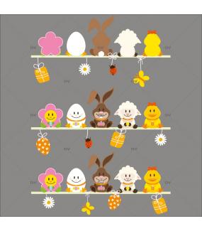 Sticker-frises-étagères-oeufs-lapin-pâquerette-poussin-vitrophanie-décoration-vitrine-pâques-printanière-électrostatique-sans-colle-repositionnable-réutilisable-DECO-VITRES