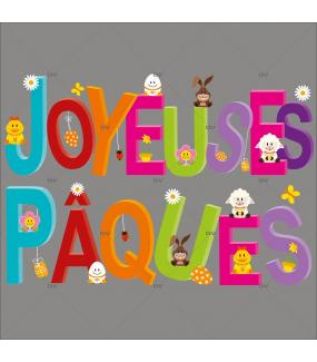 Sticker-banderole-texte-joyeuses-pâques-oeufs-lapin-pâquerette-poussin-vitrophanie-décoration-vitrine-pâques-printanière-électrostatique-sans-colle-repositionnable-réutilisable-DECO-VITRES