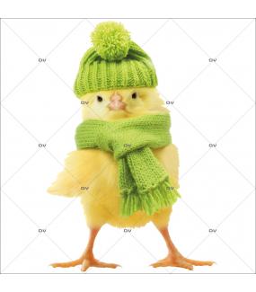 Sticker-poussin-bonnet-écharpe-animaux-printemps-vitrophanie-décoration-vitrine-pâques-printanière-électrostatique-sans-colle-repositionnable-réutilisable-DECO-VITRES