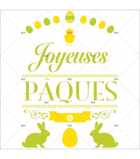 Sticker-bannière-texte-joyeuses-pâques-lapins-poussin-oeufs-fleurs-jaune-vert-vitrophanie-décoration-vitrine-pâques-printanière-électrostatique-sans-colle-repositionnable-réutilisable-DECO-VITRES
