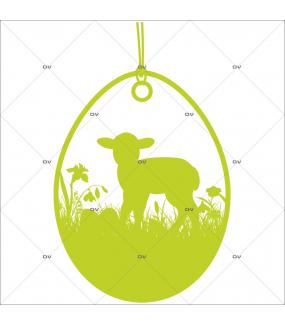 Sticker-médaillon-agneau-herbes-animaux-vert-printemps-vitrophanie-décoration-vitrine-pâques-printanière-boucherie-épicerie-fine-traiteur-charcuterie-électrostatique-sans-colle-repositionnable-réutilisable-DECO-VITRES