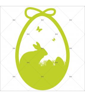 Sticker-oeuf-lapin-herbes-oeufs-papillons-animaux-vert-printemps-vitrophanie-décoration-vitrine-pâques-printanière-boucherie-épicerie-fine-traiteur-charcuterie-électrostatique-sans-colle-repositionnable-réutilisable-DECO-VITRES