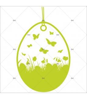 Sticker-médaillon-papillons-herbes-animaux-vert-vitrophanie-décoration-vitrine-pâques-printanière-boucherie-épicerie-fine-traiteur-charcuterie-boulangerie-primeurs-électrostatique-sans-colle-repositionnable-réutilisable-DECO-VITRES