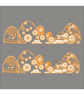 Sticker-frises-oeufs-dentelle-de-fleurs-orange-blanc-vitrophanie-décoration-vitrine-pâques-printanière-électrostatique-sans-colle-repositionnable-réutilisable-DECO-VITRES
