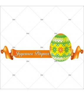 Sticker-ruban-orange-banderole-texte-joyeuses-pâques-oeuf-fleurs-vitrophanie-décoration-vitrine-pâques-printanière-électrostatique-sans-colle-repositionnable-réutilisable-DECO-VITRES