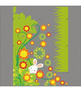 Sticker-angle-fleurs-et-lapin-vitrophanie-décoration-vitrine-pâques-printanière-électrostatique-sans-colle-repositionnable-réutilisable-DECO-VITRES