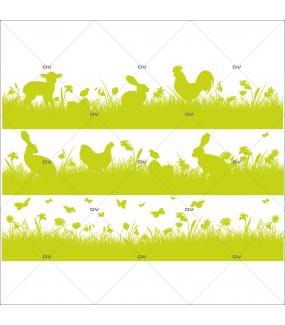 Sticker-frises-agneau-poule-lapin-poussin-herbes-animaux-basse-cour-papillons-oeufs-vert-printemps-vitrophanie-décoration-vitrine-pâques-printanière-boucherie-épicerie-fine-traiteur-charcuterie-électrostatique-sans-colle-repositionnable-réutilisable-DECO-VITRES