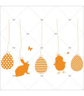 Sticker-frises-lapin-poussin-oeufs-de-pâques-suspendus-papillons-orange-vitrophanie-décoration-vitrine-pâques-printanière-électrostatique-sans-colle-repositionnable-réutilisable-DECO-VITRES