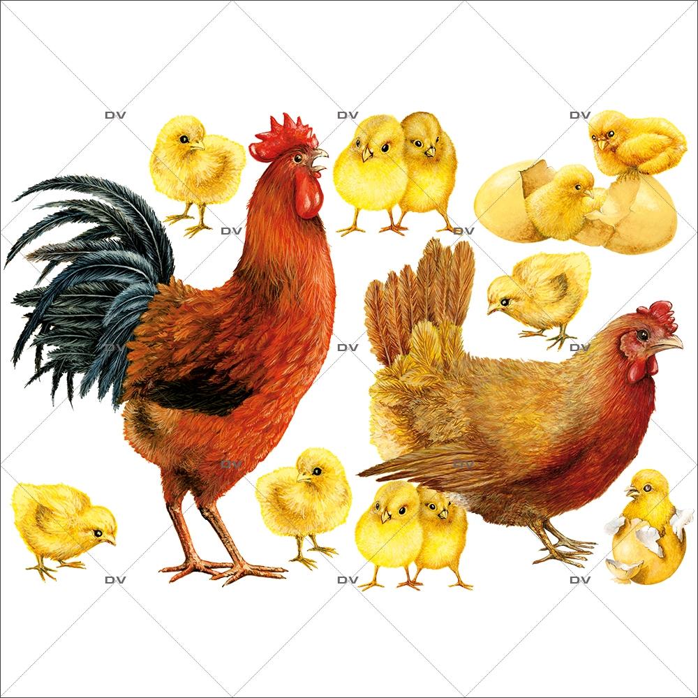 Sticker-coq-poule-et-poussins-basse-cour-animaux-volailles-vitrophanie-décoration-vitrine-pâques-printanière-électrostatique-sans-colle-repositionnable-réutilisable-DECO-VITRES