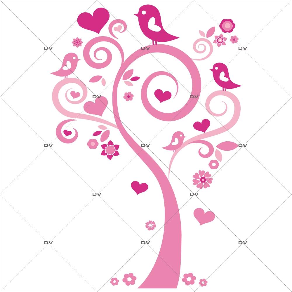 Sticker-arbre-coeurs-fleurs-oiseaux-roses-vitrophanie-décoration-vitrine-saint-valentin-fêtes-mères-pères-électrostatique-sans-colle-repositionnable-réutilisable-DECO-VITRES