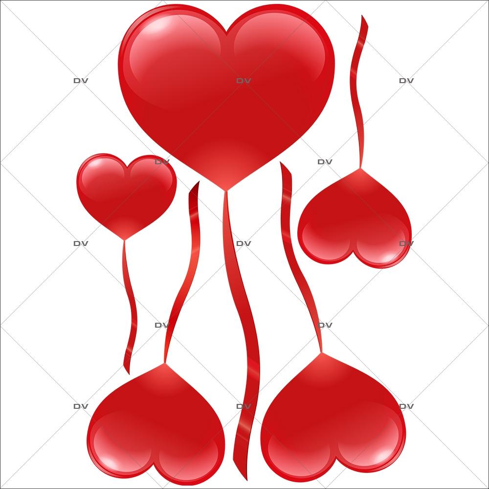 Sticker-ballons-coeurs-rouge-vitrophanie-décoration-vitrine-saint-valentin-fêtes-mères-pères-électrostatique-sans-colle-repositionnable-réutilisable-DECO-VITRES