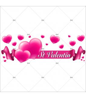 Sticker-ruban-banderole-texte-coeurs-St-Valentin-roses-vitrophanie-décoration-vitrine-saint-valentin-électrostatique-sans-colle-repositionnable-réutilisable-DECO-VITRES