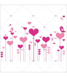 Sticker-frise-coeurs-oiseaux-roses-vitrophanie-décoration-vitrine-saint-valentin-fêtes-mères-pères-électrostatique-sans-colle-repositionnable-réutilisable-DECO-VITRES