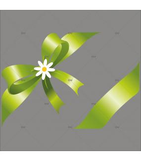 Sticker-noeud-cadeau-vert-pâquerette-fleur-printemps-été-vitrophanie-décoration-vitrine-printanière-estivale-fêtes-pâques-électrostatique-sans-colle-repositionnable-réutilisable-DECO-VITRES