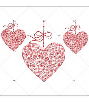 Sticker-frise-coeurs-dentelle-rouges-vitrophanie-décoration-vitrine-fêtes-grands-mères-pères-st-valentin-soldes-noël-pâques-électrostatique-sans-colle-repositionnable-réutilisable-DECO-VITRES