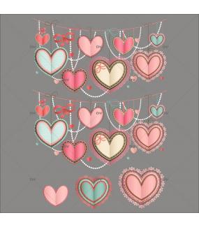 Sticker-frises-de-coeurs-dentelle-scrapbooking-vitrophanie-décoration-vitrine-fêtes-grands-mères-pères-st-valentin-soldes-électrostatique-sans-colle-repositionnable-réutilisable-DECO-VITRES