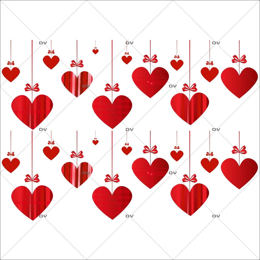 Sticker-frises-coeurs-suspendus-rouges-vitrophanie-décoration-vitrine-saint-valentin-fêtes-mères-pères-promotions-soldes-électrostatique-sans-colle-repositionnable-réutilisable-DECO-VITRES