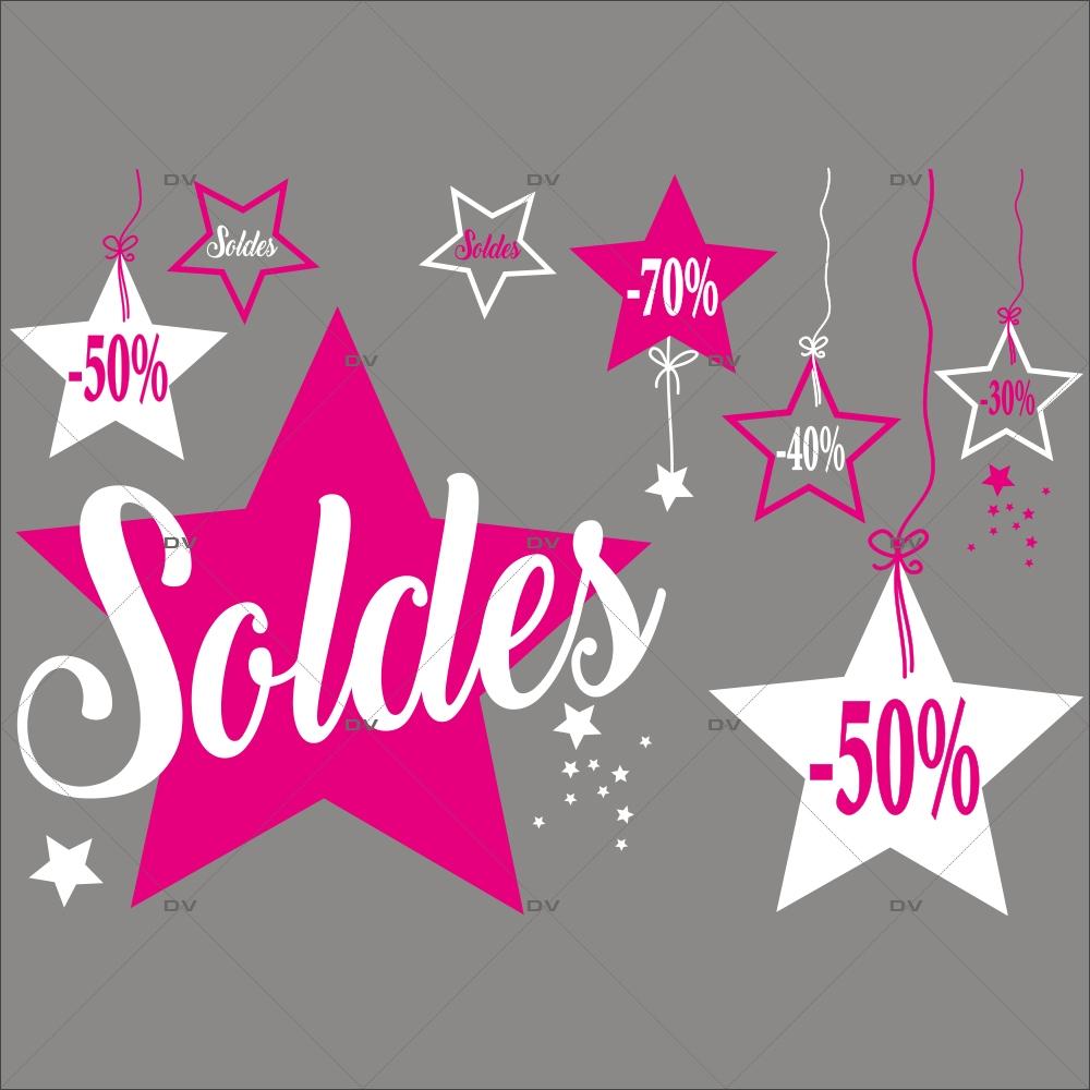 Sticker-frise-étoiles-soldes-pourcentages-blanc-rose-fuchsia-vitrophanie-décoration-vitrine-promotionnelle-électrostatique-sans-colle-repositionnable-réutilisable-DECO-VITRES