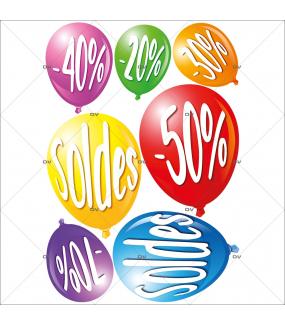 Sticker-kit-ballons-soldes-pourcentages-multicolores-vitrophanie-décoration-vitrine-promotionnelle-électrostatique-sans-colle-repositionnable-réutilisable-DECO-VITRES